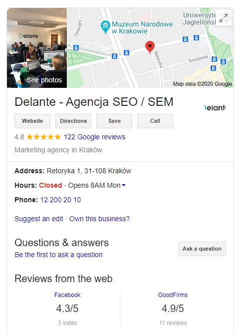 Google My Business profile - seo statistics