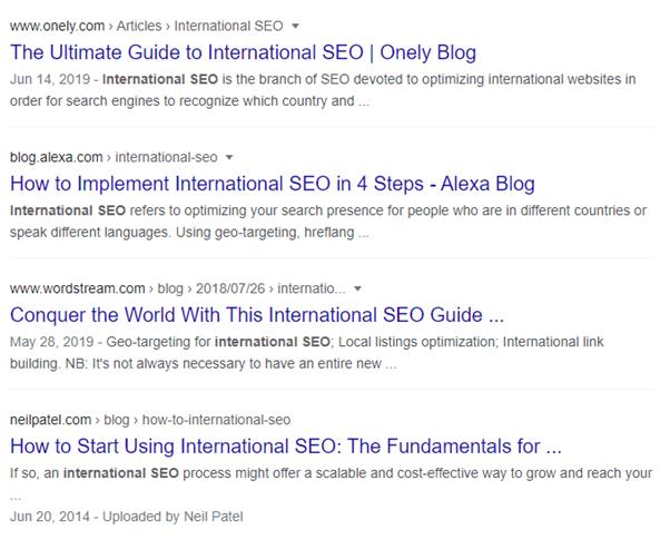 Google SERP - examples