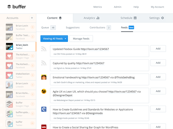 Planning Social Media posts with buffer