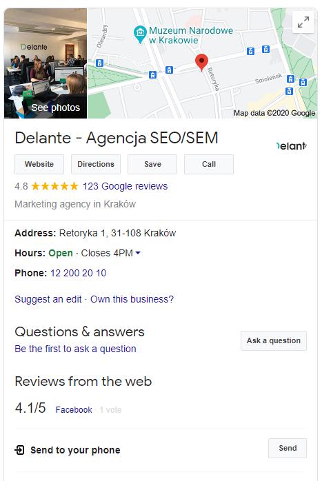 Local SEO - Google Search results company page