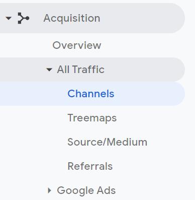 Traffic sources - google analytics screenshot