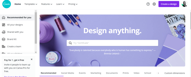 Canva - a tool to use in content creation