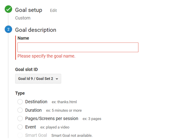 A screenshot from Google Analytics - creation of new goals for conversion tracking