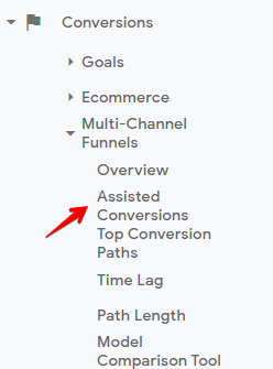 how to find assisted conversions in Google Analytics
