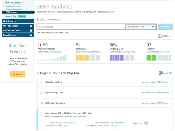 moz competitor analysis reports