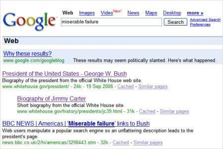 example of google bomb seo history