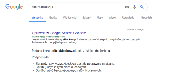 Case study SEO - page out of Google index