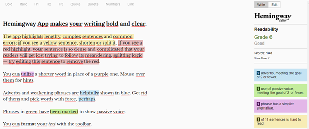 content marketing best tools hemingway app