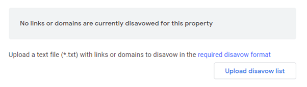 Disavow links in search console