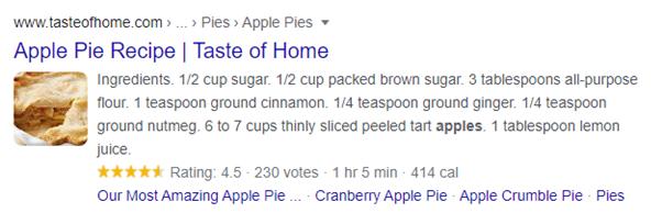 seo trends recipes in google search