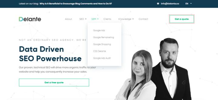 dropdown meny homepage seo