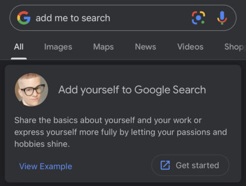 how to create add me to search card