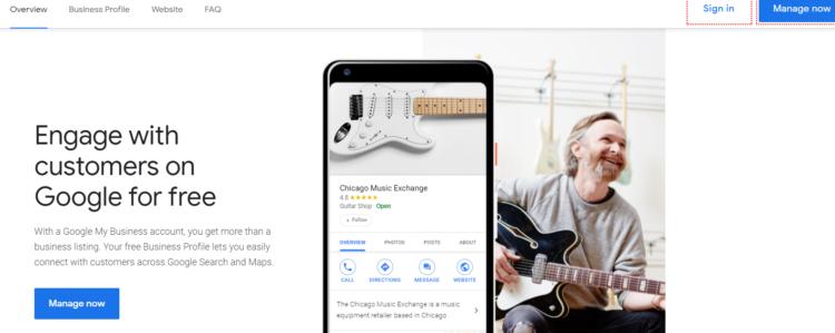 Google My business interface