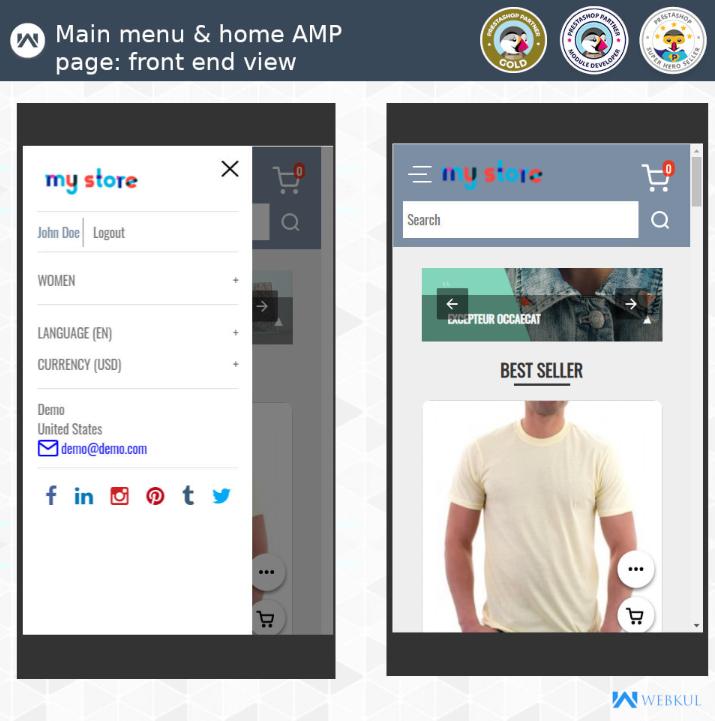 amp prestashop app for e-commerce