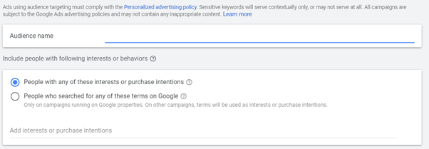 custom audience gdn ads targeting