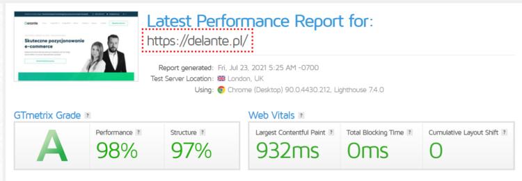 gt metrix page speed report