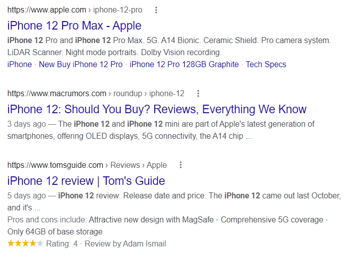 Product reviews showed in search results with structured data