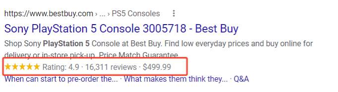 rich snippet usage in seo for e-commerces