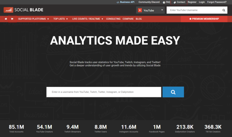 social blade social media monitoring tools