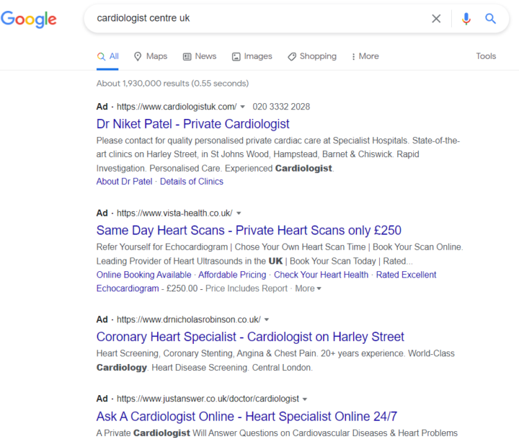 baner blindness in search results