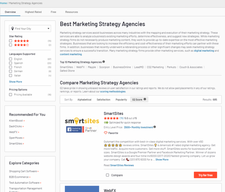 how to find seo agency online g2 marketplace