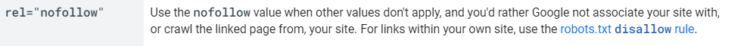 outbound links nofollow attribute